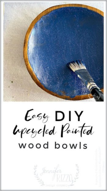 DIY upcycled painted wood bowls with acrylic paint