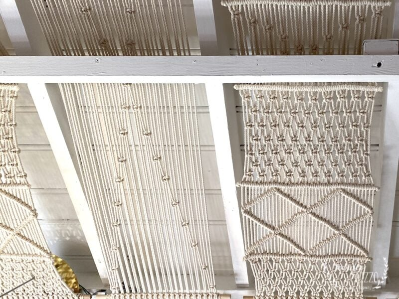 Macrame weavings as ceiling covering in Thick as Thieves boutique Palm Springs California