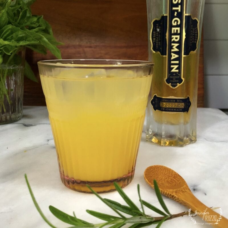 Orange Juice, St Germain, Lillet and Gin Cocktail