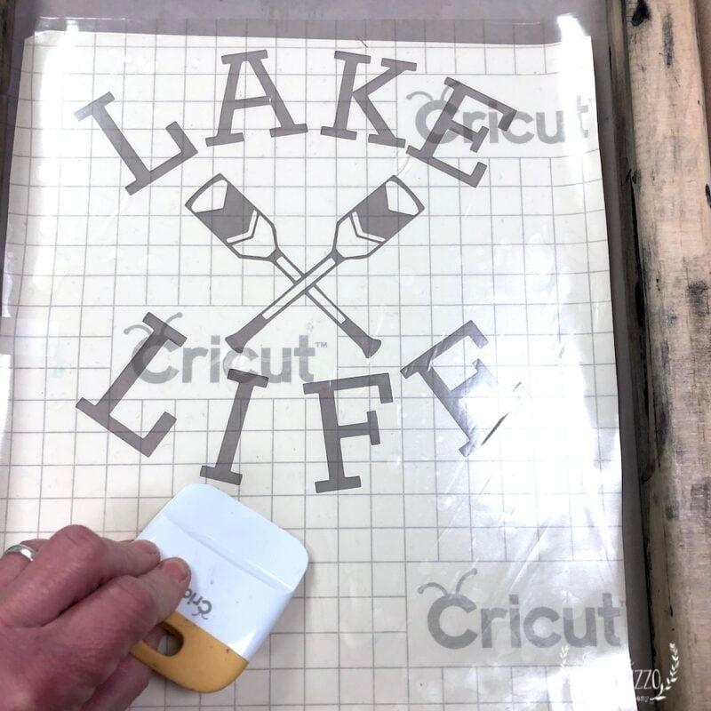 Press stencil onto silk screen
