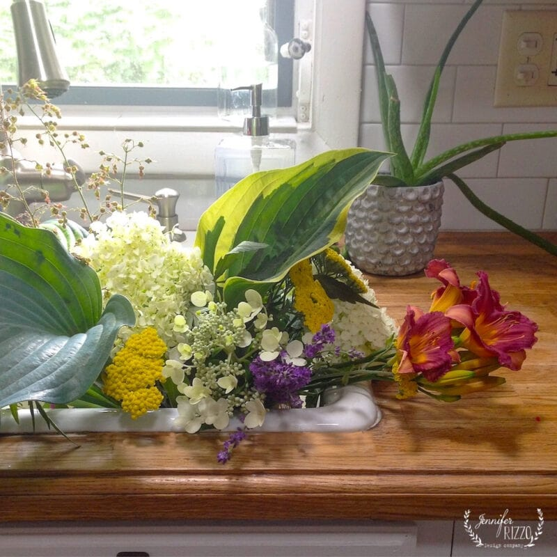 Sink full of easy to grow flowers for bouquet