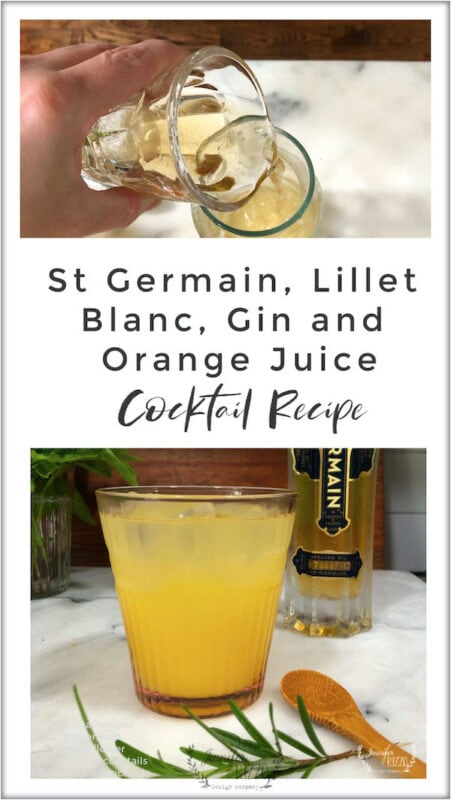 St Germain, Gin, Lillet Blanc and Orange Juice Cocktail