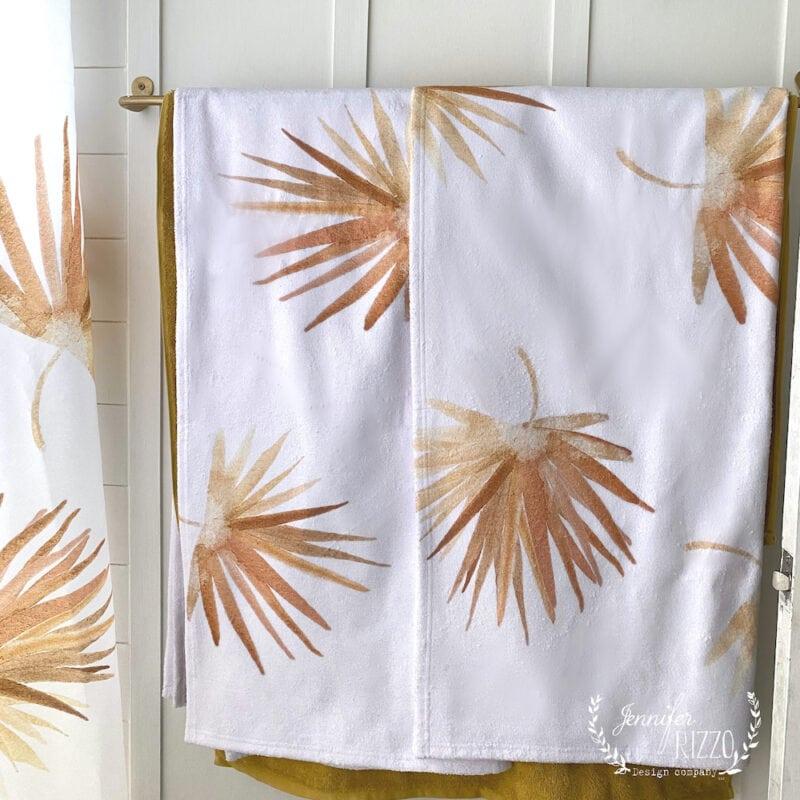 Golden fan palm bath towels by Jennifer Rizzo Design Company