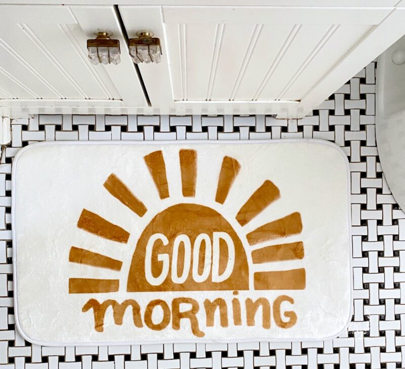 Good Morning Sunshine bath mat by Jennifer Rizzo