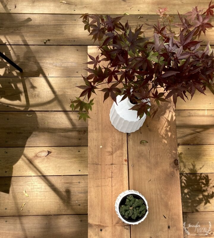 Adding plants in vases for added decor to an outdoor space