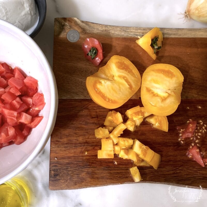 Diced tomatoes for bruschetta