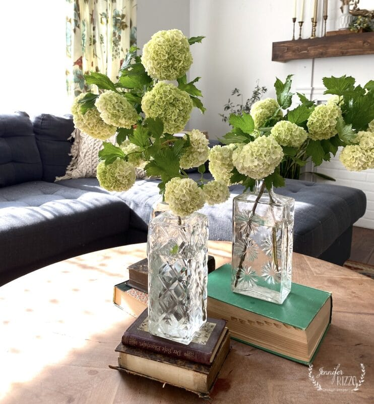 Coffee table display idea with vintage crystal decanters