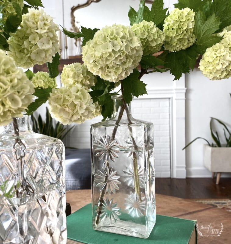 Crystal decanter as a vase