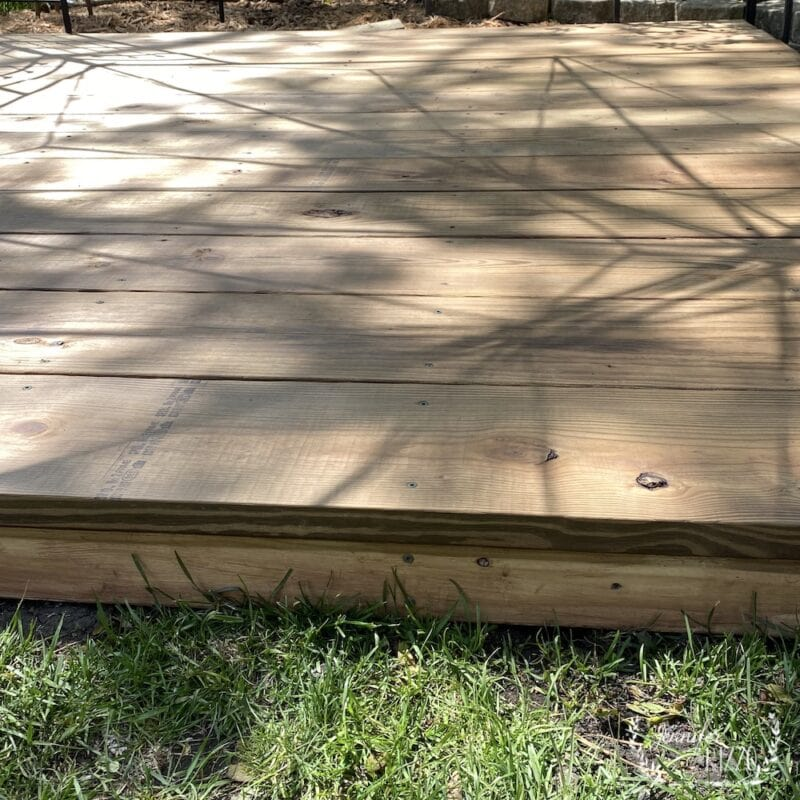Brown stained wood deck