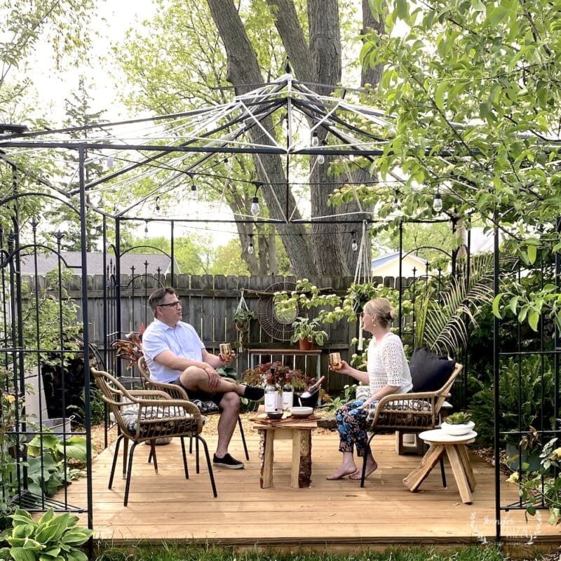 Enjoying an outdoor gazebo with a wood platform