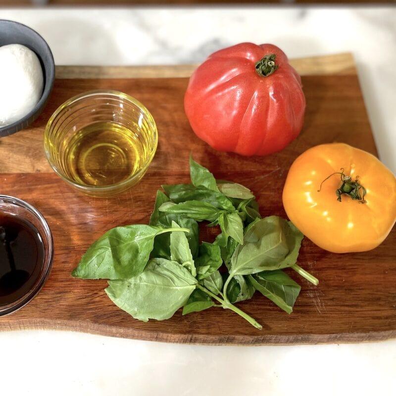Ingredients for tomato basil bruschetta
