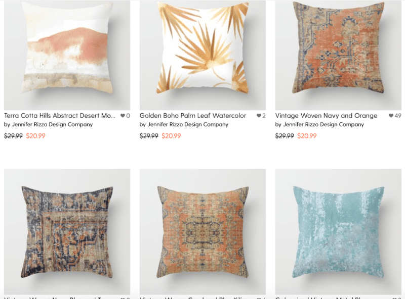 Best selling pillows by Jennifer Rizzo