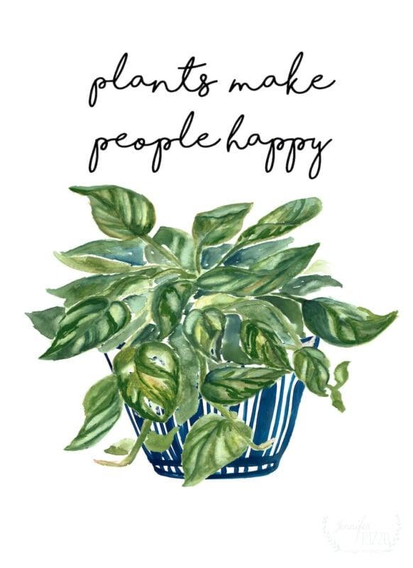 Free plants make people happy printable art from Jennifer Rizzo