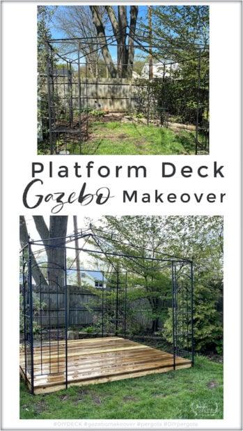 platform wood deck gazebo makeover