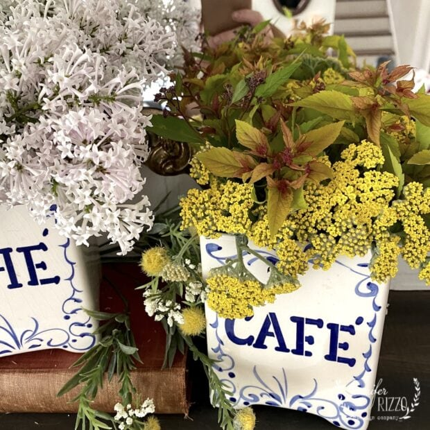Yarrow and lilac flower arrangements