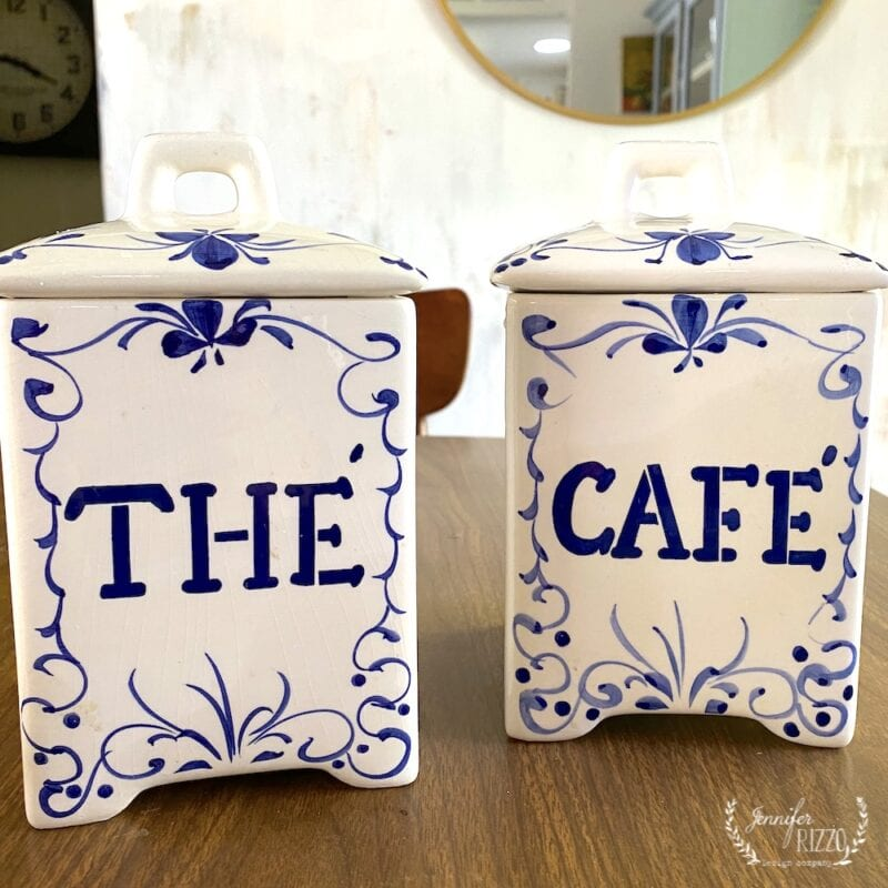 VIntage French Tea and Cafe canisters