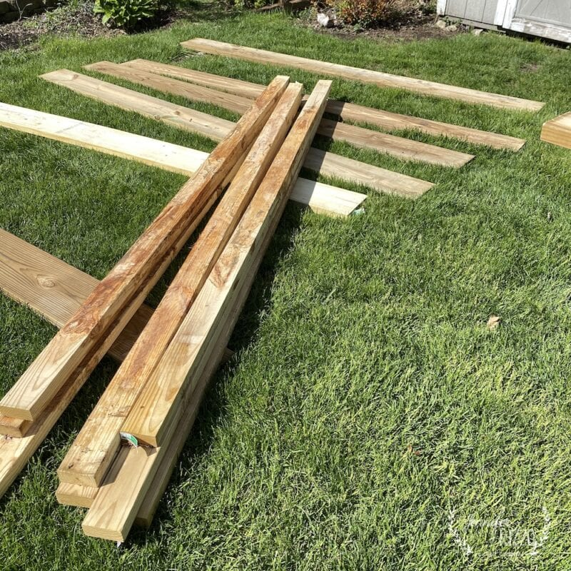 Wood for an outdoor platform under gazebo