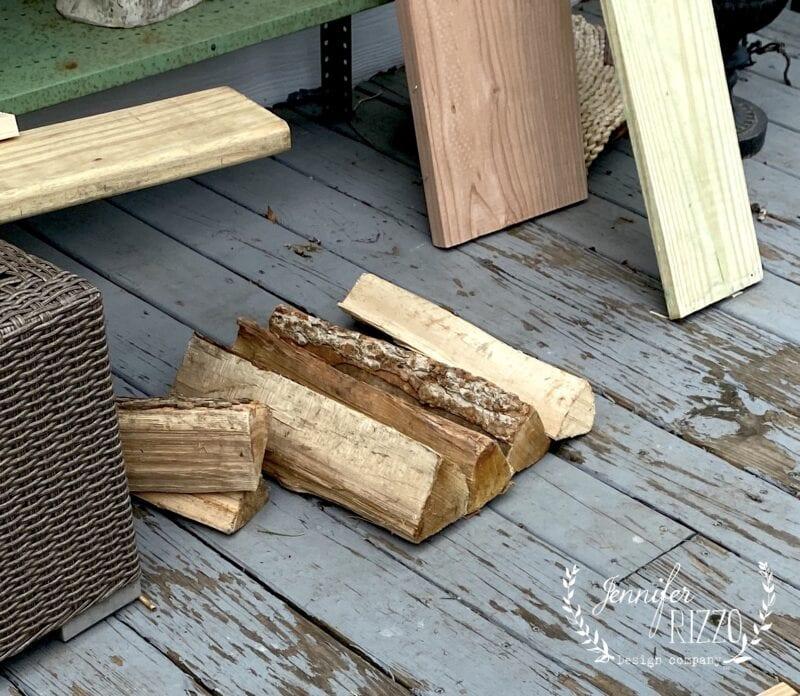 Split firewood for table legs