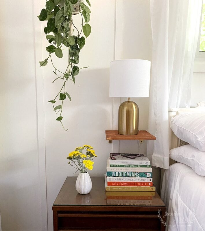 Bedside lamp shelves and MCM furniture and boho decor
