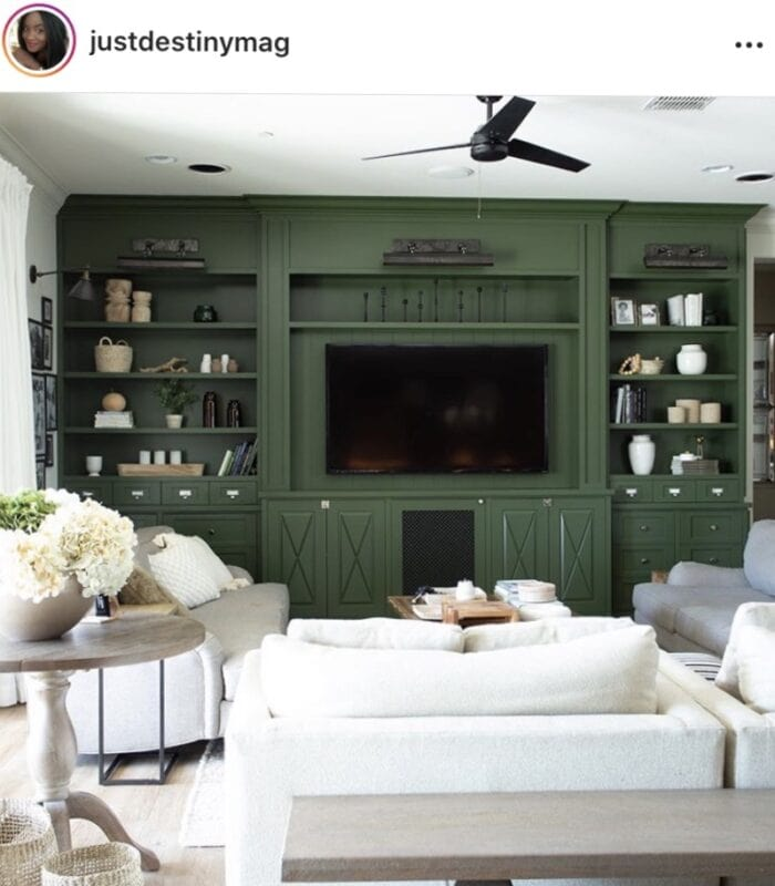 Just Destiny Painted Green Bookcase with Neutral Living Room Couches