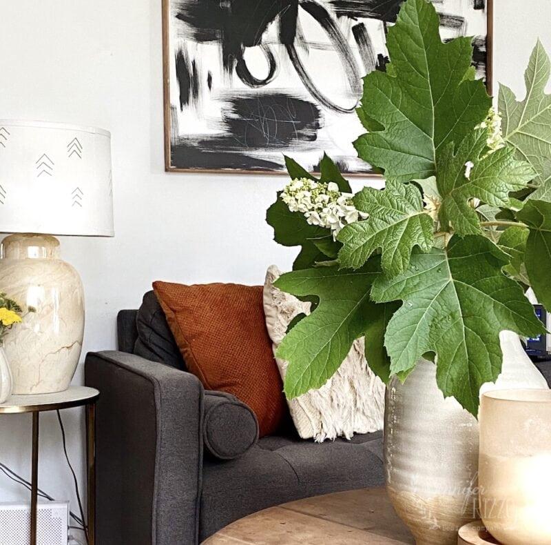 Oakleaf hydrangea in a vase