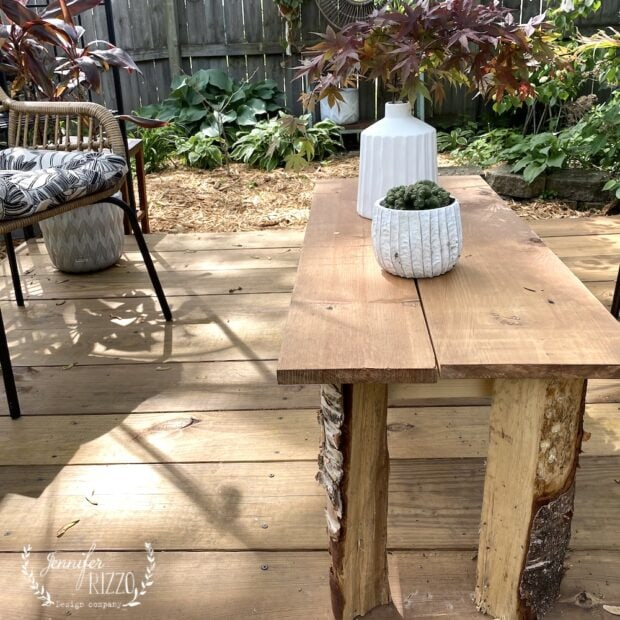 Rustic DIY table with raw wood table legs