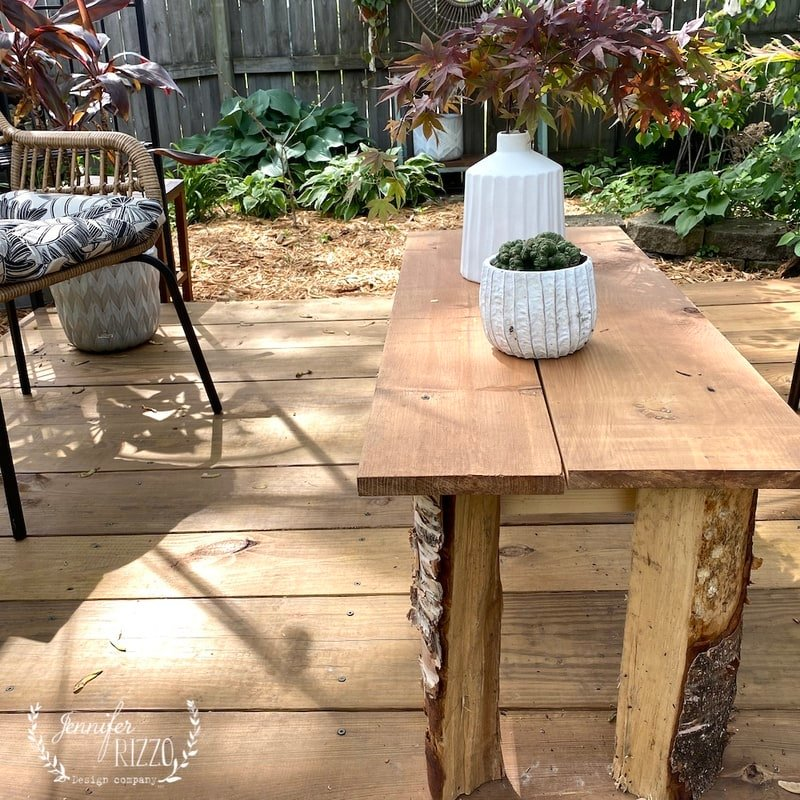 Handmade Table from Scrap Lumber and Raw Wood Legs