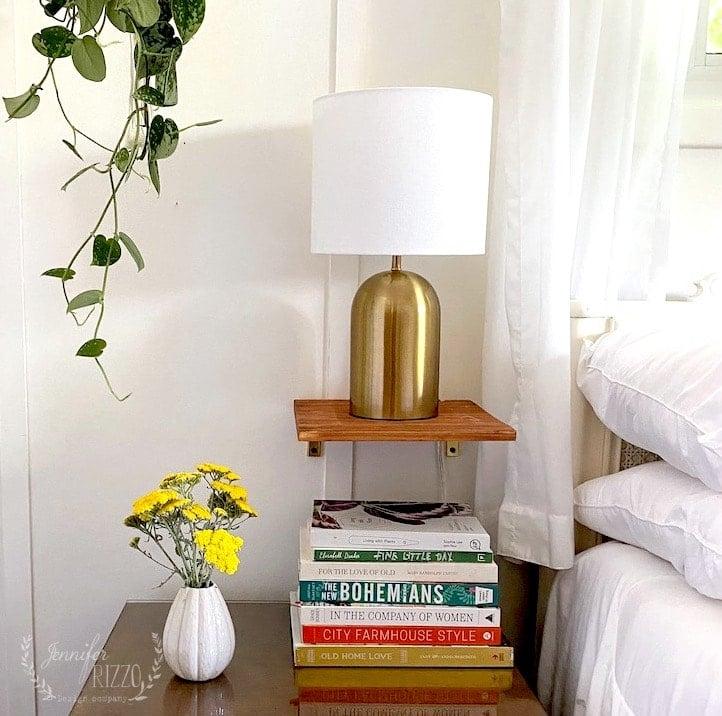 Small floating bedside shelf