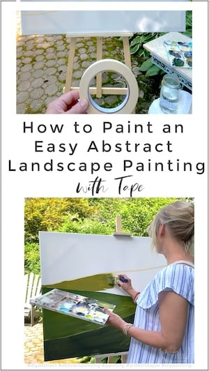 How to paint an easy abstract landscape painting with tape