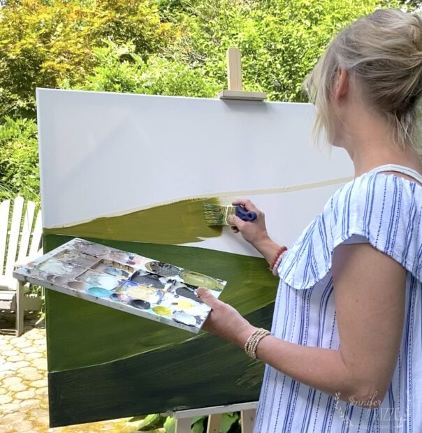 Paint the third layer of your DIY abstract art landscape painting