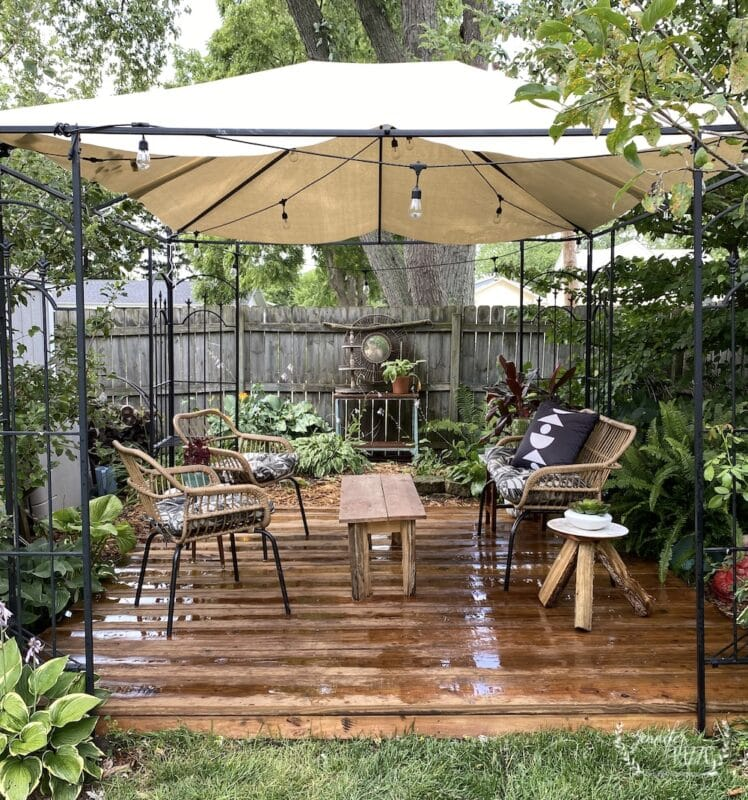 Back deck area with DIY canvas cotton duck canopy
