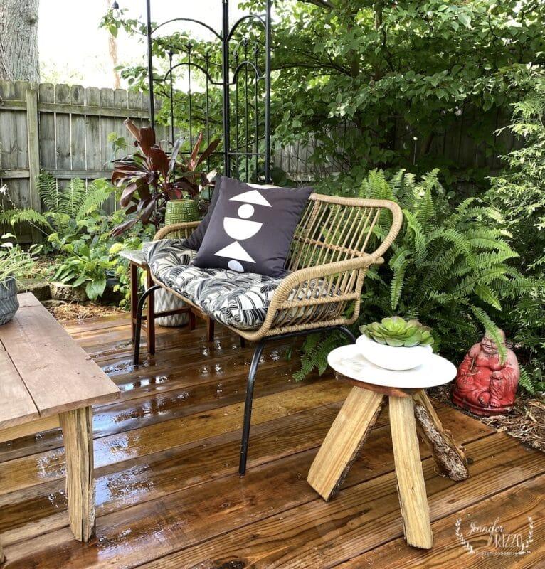 Boho deck and DIY wood table