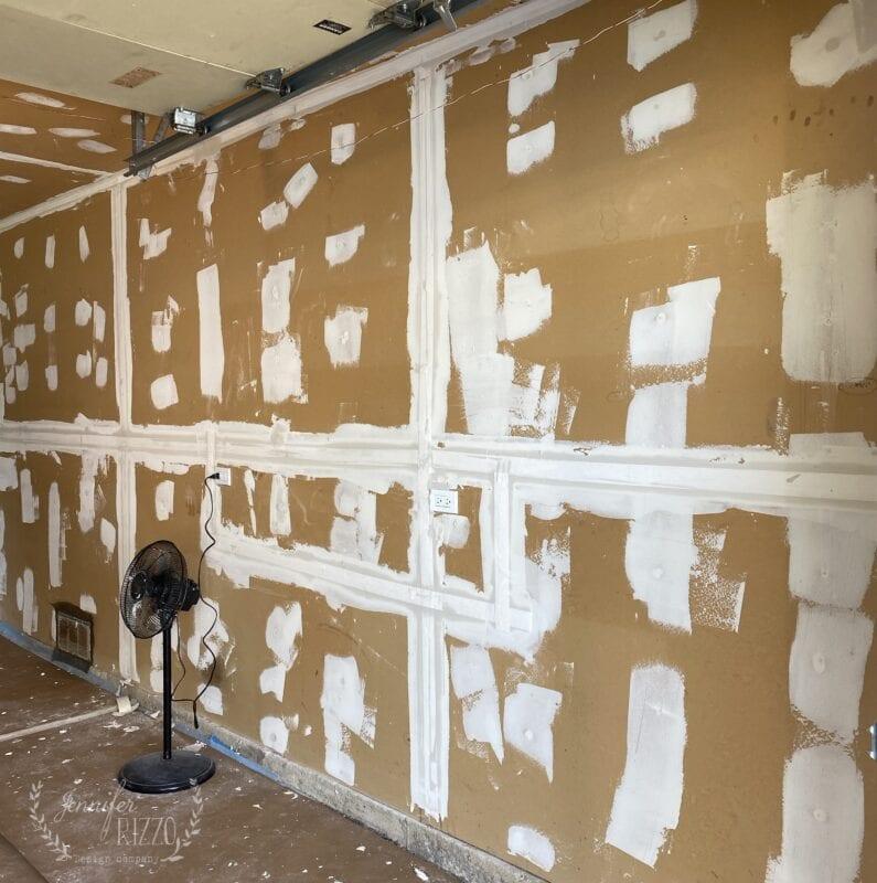 Mudding and taping garage drywall