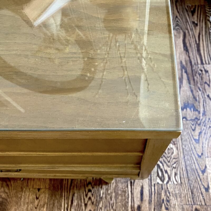 Glass top MCM table top