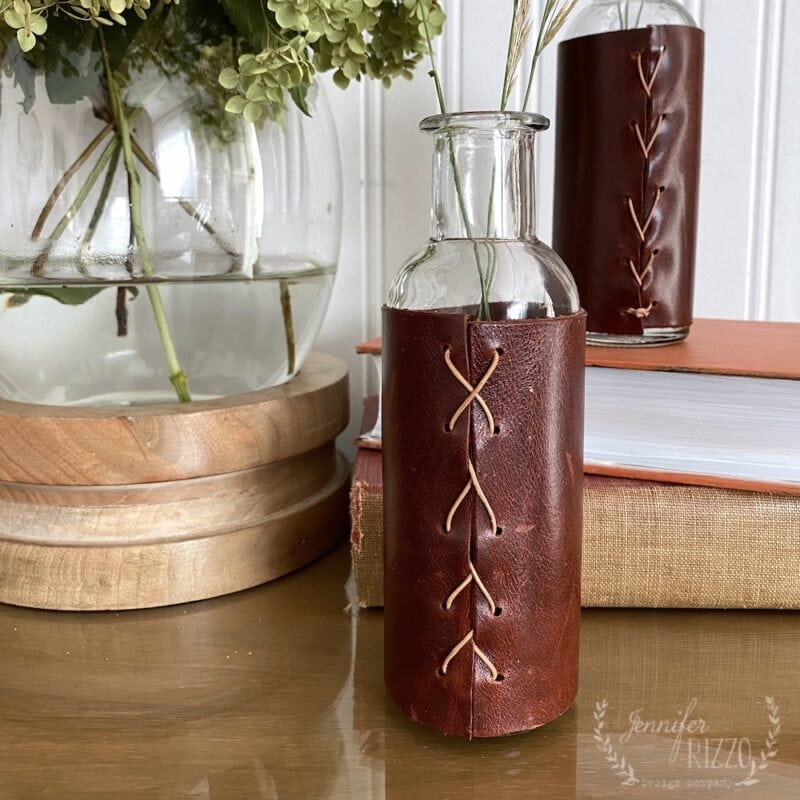Make a leather wrapped vase