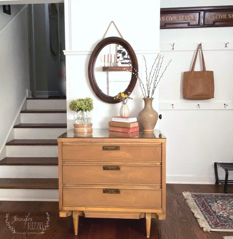 Midcentury modern furniture in bohemian decor