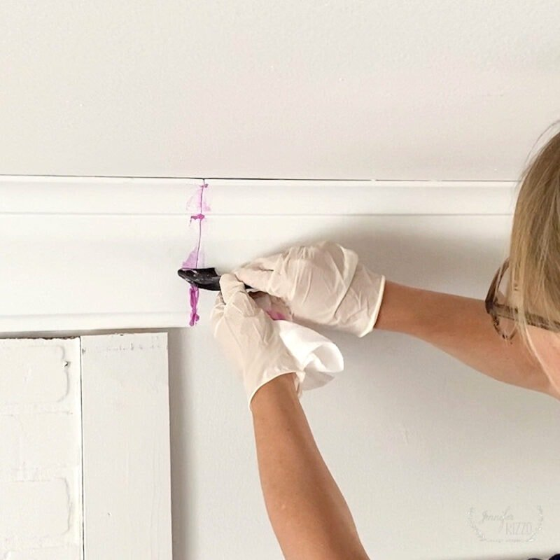Patching seams with spackle for fast and easy crown molding with Crown Molding Solutions