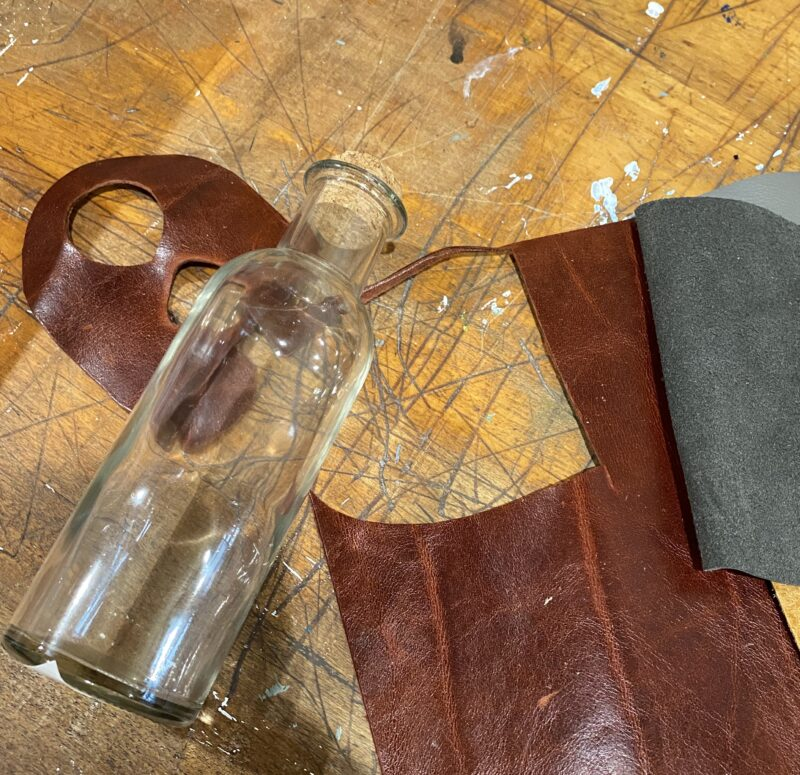 Supples for creating a leather wrapped bottle vase