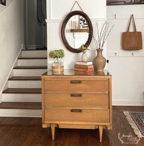 Small Mid-Century Modern Dresser in entry way