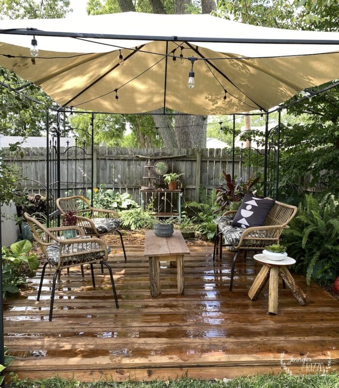 Outdoor deck with DIY canopy