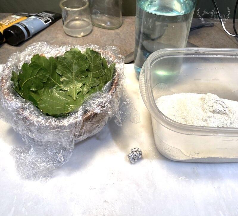 Adding concrete to leaf bowl