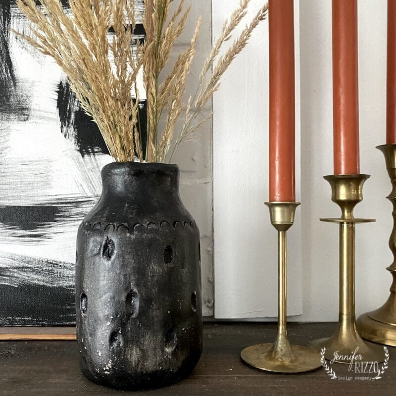 Make a boho vase with clay and black paint