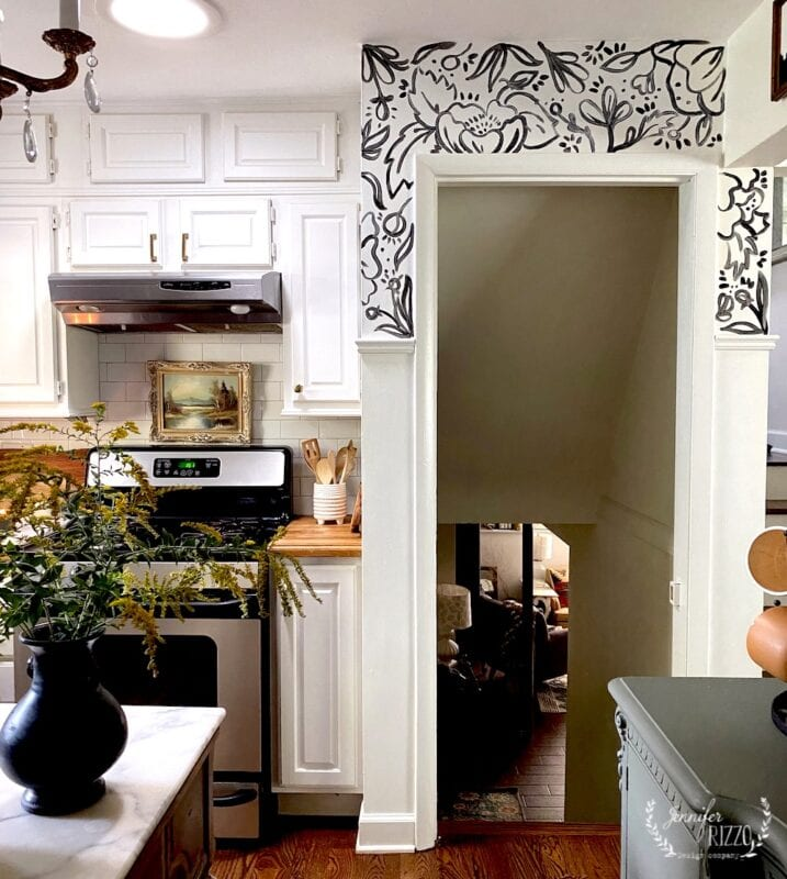 Hand-painted black and white floral wallpaper