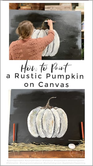 How to paint a rustic pumpkin on Canvas DIY