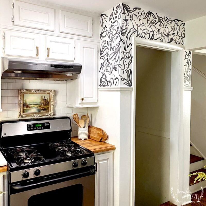 Hand-painted wallpaper in a kitchen