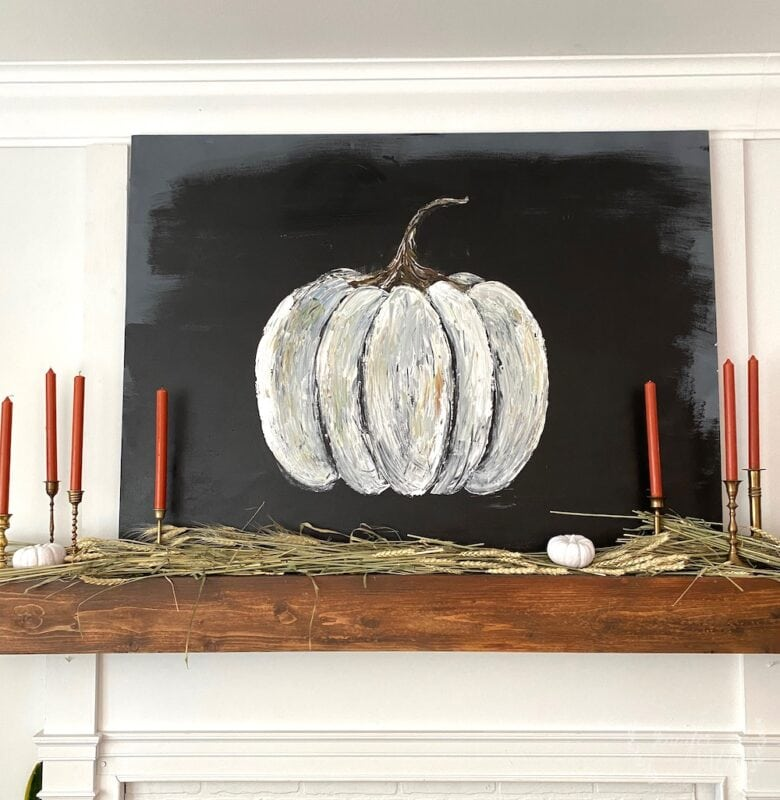 Fall mantelscape idea with pumpkin canvas