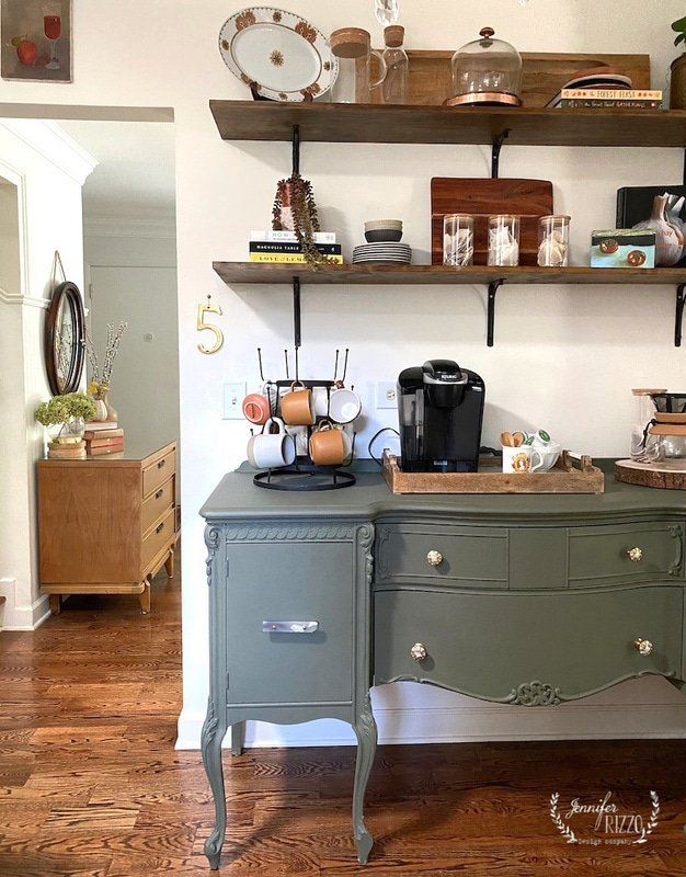Open shelf styling and a grene painted buffet in a small home
