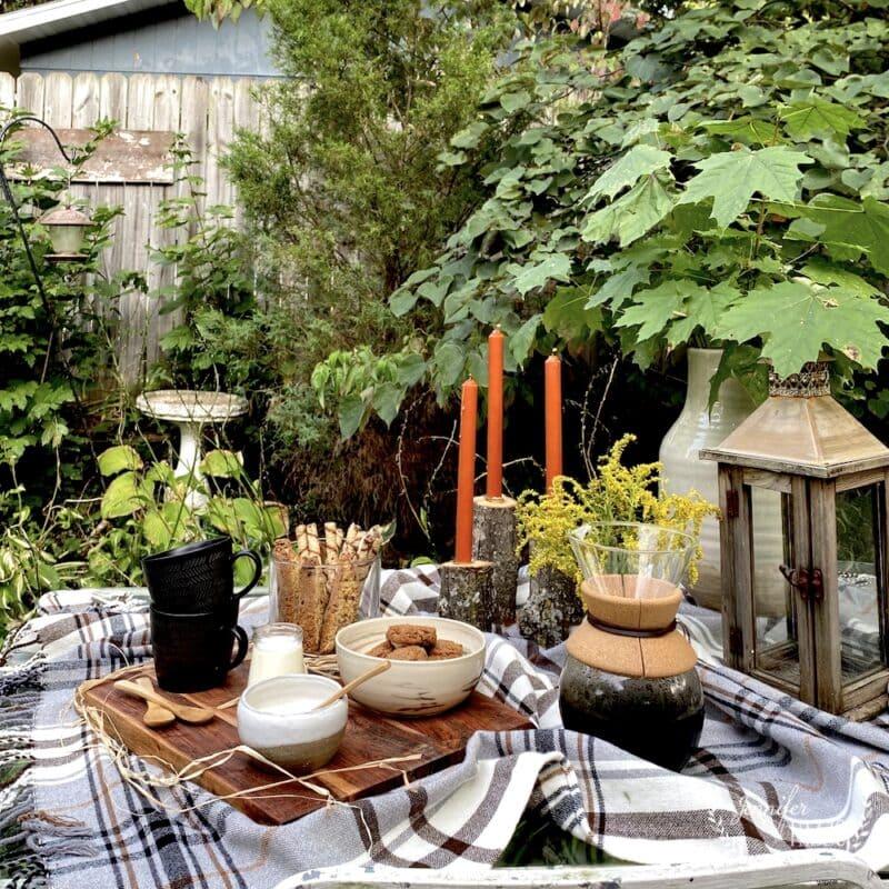 Outdoor fall coffee gathering