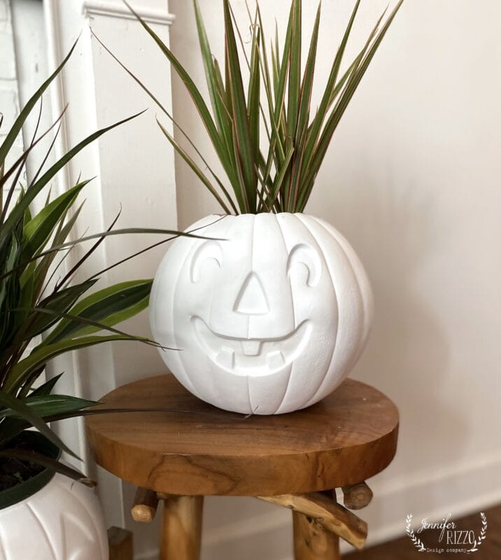 Plastic pumpkins painted as planters