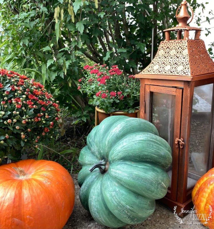Mix faux and real pumpkins in decor